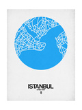 Istanbul Street Map Blue Art by  NaxArt