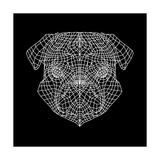 Pug Head Black Mesh Art by Lisa Kroll