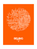 Beijing Street Map Orange Prints by  NaxArt