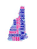 New Hampshire Word Cloud Map Posters by  NaxArt