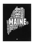 Maine Black and White Map Posters by  NaxArt