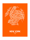 New York Street Map Orange Prints by  NaxArt