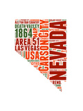 Nevada Word Cloud Map Posters by  NaxArt
