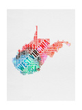 West Virginia Watercolor Word Cloud Prints by  NaxArt