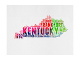 Kentucky Watercolor Word Cloud Art by  NaxArt
