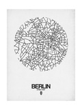 Berlin Street Map White Kunst af  NaxArt