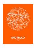 Sao Paulo Street Map Orange Posters by  NaxArt