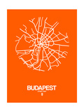 Budapest Street Map Orange Prints by  NaxArt