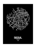 Seoul Street Map Black Posters by  NaxArt