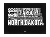 North Dakota Black and White Map Prints by  NaxArt