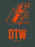 Dtw Detroit Poster 3 Plastic Sign by  NaxArt