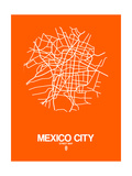 Mexico City Street Map Orange Poster by  NaxArt