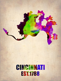 Cincinnati Watercolor Map Plastic Sign by  NaxArt