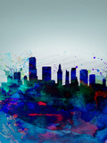 Miami Watercolor Skyline Plastic Sign by  NaxArt
