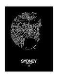 Sydney Street Map Black Art by  NaxArt