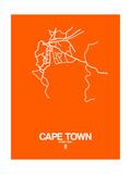 Cape Town Street Map Orange Print by  NaxArt