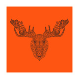 Moose Head Orange Mesh Art by Lisa Kroll