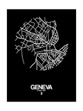 Geneva Street Map Black Prints by  NaxArt