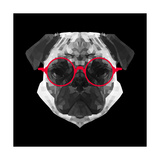 Pug in Red Glasses Poster by Lisa Kroll