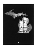 Michigan Black and White Map Prints by  NaxArt