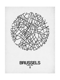 Brussels Street Map White Prints by  NaxArt