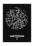 Amsterdam Street Map Black Poster by  NaxArt
