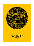 Sao Paulo Street Map Yellow Prints by  NaxArt