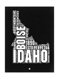 Idaho Black and White Map Poster by  NaxArt