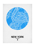 New York Street Map Blue Posters van  NaxArt