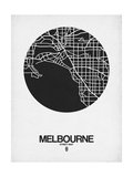 Melbourne Street Map Black on White Arte por  NaxArt