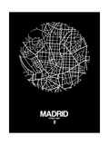 Madrid Street Map Black Posters by  NaxArt