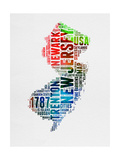 New Jersey Watercolor Word Cloud Art by  NaxArt