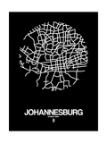 Johannesburg Street Map Black Art by  NaxArt