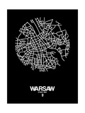 Warsaw Street Map Black Prints by  NaxArt