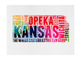 Kansas Watercolor Word Cloud Prints by  NaxArt