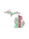 Michigan Word Cloud Map Prints by  NaxArt