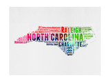 North Carolina Watercolor Word Cloud Prints by  NaxArt