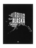 Alaska Black and White Map Posters by  NaxArt