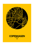 Copenhagen Street Map Yellow Art by  NaxArt