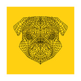 Pug Head Yellow Mesh Posters by Lisa Kroll
