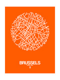 Brussels Street Map Orange Poster by  NaxArt