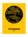 Stockholm Street Map Yellow Print by  NaxArt