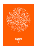 Paris Street Map Orange Poster av  NaxArt