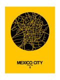 Mexico City Street Map Yellow Prints by  NaxArt