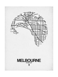 Melbourne Street Map White Posters by  NaxArt