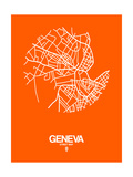 Geneva Street Map Orange Posters by  NaxArt