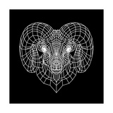 Ram Head Black Mesh Prints by Lisa Kroll
