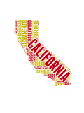 California Word Cloud Map Posters by  NaxArt