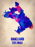 Oakland Watercolor Map Plastic Sign by  NaxArt