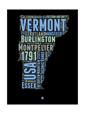 Vermont Word Cloud 1 Print by  NaxArt